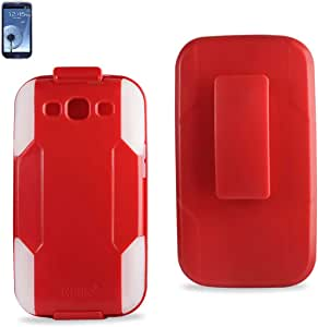 Reiko SLCPC09-SAMI9300RDCL Premium Durable Hybrid Combo Case with Kickstand for Samsung Galaxy SIII - 1 Pack - Retail Packaging - Red/Clear