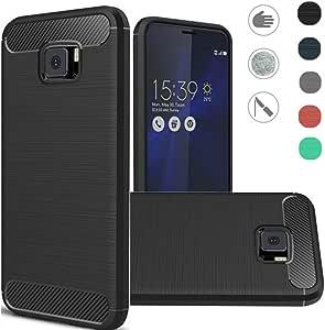 华硕 ZenFone V V520KL 手机壳,优质纤薄防指纹橡胶柔软 TPU 柔性拉丝纹理保护套适用于华硕 Zenfone V V520KL (5.2英寸) 黑色拉丝