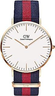 Daniel Wellington 丹尼尔·惠灵顿 Oxford Rose 男士石英手表,配白色表盘模拟显示和彩色尼龙表带