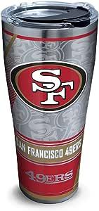 Tervis 1266680 NFL 旧金山 49ers Edge 不锈钢杯 带透明黑色锤子盖 银色 30 oz Stainless Steel 1266693