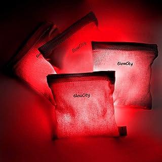 GlowCity 沙包发光豆袋版本 2.0 防水投掷游戏配件 4 x LED 夜光灯适用于户外草坪游戏