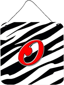 "Caroline's Treasures Letter O Initial with Monogram-Zebra Red Wall or Door Hanging Prints, 6 x 6"", Multicolor"