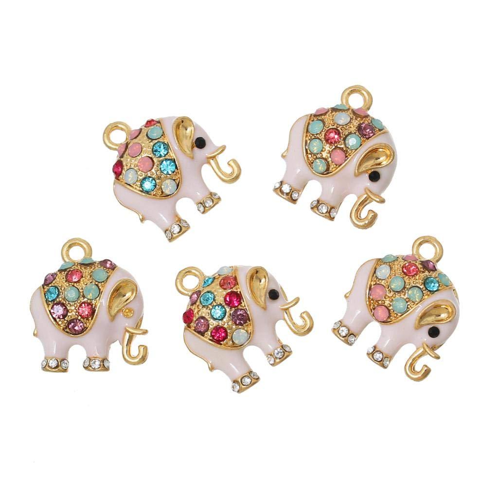 Max Corner 大象吊坠,5 件水钻金色吊坠项链手镯脚链饰品供应