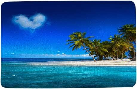 "HIYOO 海滩主题设计防滑浴垫,门垫,浴室浴室地板厨房门入口地毯,超柔软法兰绒面料,带厚海绵,吸水性强 Tropical Palm Trees 16""x24"""