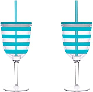 带吸管和盖子的酒杯,青色条纹丙烯酸,双层绝缘杯,13 盎司(约 313 毫升),2 件套