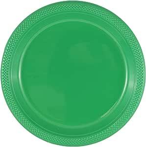 - 圆形和方形彩色塑料盘子–7,21.59cmx27.94cm–10/ 20盘每包 绿色 10 Inches - Round (Large)
