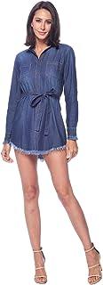 Blue Age 女式条纹牛仔衬衫连衣裙