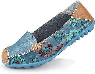 Ablanczoom 女式舒适皮革花卉印花平底鞋休闲驾驶乐福鞋女式步行鞋 蓝色 11.5