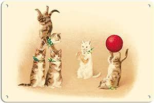 太平洋岛艺术 - 猫 - 俏皮小马马戏团图案 - Vintage Circus 海报,Helena Maguire 创作于 1910 年代 - 精美艺术印刷品 多种颜色 8 x 12 in Tin Sign MTSA3622