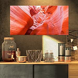 "Designart Antelope 峡谷墙景观照片帆布艺术印刷品,红色 红色 32x16"" PT8786-32-16"