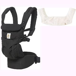 Ergo Baby Omni 360 一体人体工程学婴儿背带带出牙垫和围嘴 - 纯黑/自然色