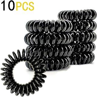 DE 螺旋发带,线圈发带,电话线发带,卷发凹陷,无折痕,无* - 10 件,黑色