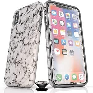 手机配件包 - 屏幕保护膜,哑光 iPhone 手机壳和手机手柄,黑白大理石设计 IPhone 7/8 Black White Marble (Glossy Finish)