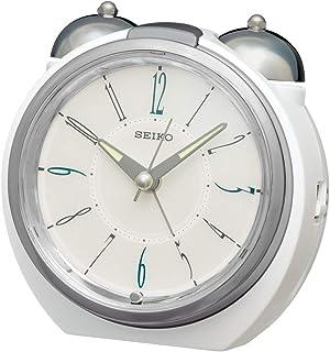 セイコークロック 置き時計 銀色 光沢 本体サイズ: 10.5×11.2×9.1cm 目覚まし時計 アナログ ダンダンベル音アラーム KR507H