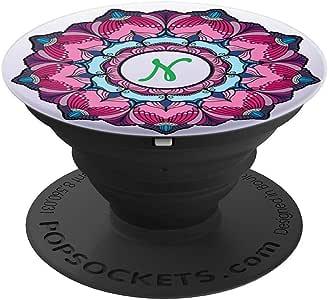 Initial N Monogram Floral Mandala PopSockets 手机和平板电脑握架260027  黑色