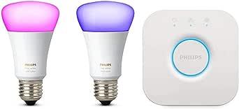 Philips 飞利浦 Hue White Color Ambiance E27 LED灯启动套装 两个四代灯 可调光 app控制 与Amazon Alexa兼容(Echo / Echo Dot)