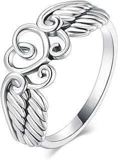 BORUO 925 纯银戒指高抛光心角翅膀戒指 4-12