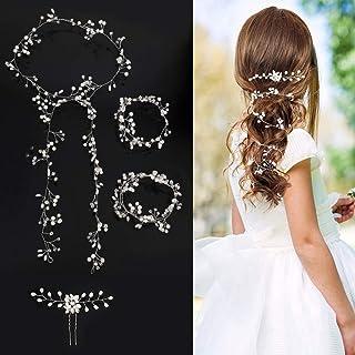 CEREALY 4 件新娘超长银珍珠水晶珠新娘发藤婚礼头饰新娘发饰头带