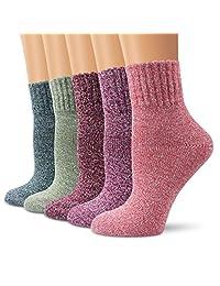 Ambielly 冬季女式袜 5 双复古风格针织羊毛休闲袜加厚保暖彩色袜