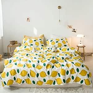 amwan 奢华格子图案羽绒被套大现代条纹大号双人床床上用品套装3件套棉羽绒被棉被套1个羽绒被套和2个枕套