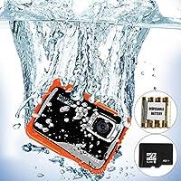 水下摄像机,防水数码相机儿童礼品迷你动作运动摄像机 12MP HD/2.0 英寸 LCD 显示屏/8X 数码变焦带 8GB SD 卡和电池3216570127 橙色