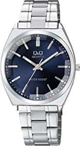[シチズン キューアンドキュー]CITIZEN Q&Q 腕時計 アナログ クラシック 日常生活防水 ブレスレット ネイビー シルバー QB78-212 メンズ