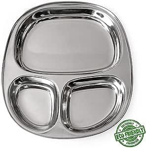 IndiaBigShoop 不锈钢椭圆形餐盘 3 隔层适用于 Pav Bhaji 和早餐. Set Of 1 IBS1123