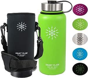 Smart Flask 不锈钢水瓶,宽口,真空保温,含便携袋 149.86 厘米肩带,坚固防漏不锈钢盖翻盖咖啡盖 Neon 32 盎司