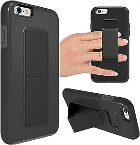 zve iphone 保护套带支架手柄带可折叠架双层重型手机保护套防震保护套适用于 iphone iPhone 6 Plus 5.5''-Black