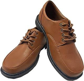 Lito Kids Wear 男童礼服鞋 - 系带 - 婚礼、毕业典礼、正式磨砂鞋 棕色 10 Toddler