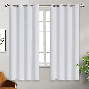 BGment 房间变暗保暖保暖丝滑遮光窗帘适用于客厅,金属金属金属金属扣眼 Greyish White 52W x 63L Grayish White5263