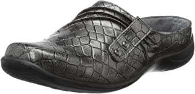 EASY STREET 女式 HOLLY 洞洞鞋 Pewter Patent Croco 8.5 C/D US