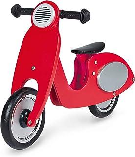 Pinolino 滑轮 Vespa Wanda,木制滚轮,无平台轮胎,3倍高度可调,适合3岁儿童,红色