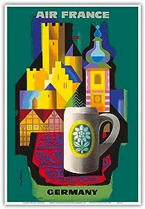 """太平洋岛屿艺术德国 - 法国 - Jacques Nathan-Garamond 复古航空旅行海报,c.1963 - 艺术大师印刷 13"""" x 19"""" PRTC4439"""