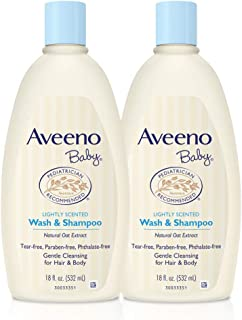 Johnson & Johnson 强生 Aveeno 艾惟诺 婴儿天然燕麦提取物温和婴儿洗发露,温和不刺激,18盎司(约510.29克),532毫升,双包装