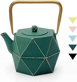 茶壶,Toptier 日本铸铁茶壶带不锈钢茶壶,耐用铸铁水壶套装,钻石设计涂层,全釉内饰 * 40 oz / 1200 ml