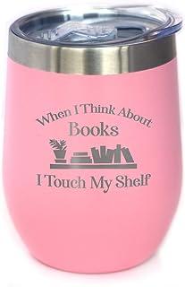 Touch My Shelf - 带滑盖的葡萄酒杯 - 无柄不锈钢保温杯 - 阅读和书籍爱好者户外马克杯 粉红色