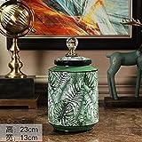 橡树庄园 北欧热带植物储物罐摆件 室内家具时尚轻奢花瓶装饰摆设 (166006小)