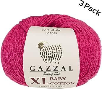 3件装 (球) gazzal 婴儿棉质 XL TOTAL 149.7gram/344yrds 每个球4盎司50g/246yrds (225M) 超软 dk- worsted 婴儿纱线50% 土耳其棉质
