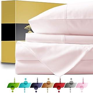 Urban Hut 埃及长绒棉床单套装(4 件套)1000 支 - 床单深袋高级床上用品套装,*店系列奢华床单柔软缎纹织物 腮红 Queen