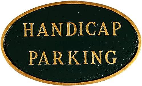 Montague Metal Products Handicap 停车椭圆形墙挂牌匾 大 金色 SP-16L-HGG