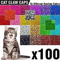 100 只猫爪软猫*帽 5X 不同颜色颜色的软猫*帽 + 5X 粘胶胶 + 5X 涂抹器,小猫头鹰爪*小猫软罩 XS