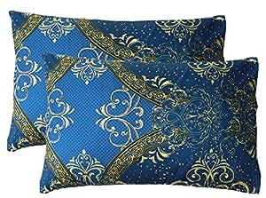 Tache Home 时尚奢华图案枕套 Navy Blue Damask 20x30 2133-PC