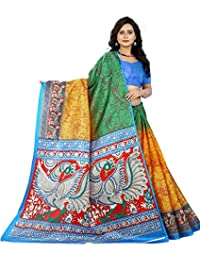 Jaanvi 时尚女式 Khadi 丝绸 Kalamkari 图案印花纱丽服
