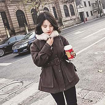 2018冬装新款韩版收腰chic棉服女装短款加厚棉衣冬季棉袄工装外套M 毛领,内胆可拆卸 巧克力色