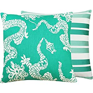 Chloe & Olive Orient Express Couture Collection Dragon and Stripes Lumbar Pillow Cover, 18-Inch, White