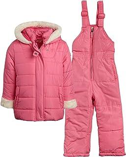 Jessica Simpson 女婴 2 件套防雪服,带雪围兜裤和羽绒服(婴儿和幼儿女孩)