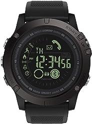 GOKOO 男式智能手表 带秒表计步器 卡路里计数器 距离通知闹钟远程摄像机户外运动智能手表 S10 黑色