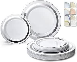 "OCCASIONS"" 120 片一次性塑料盘子套装 - 152.4 x 26cm 晚餐 + 152.4 x 19.05 cm 沙拉/甜点盘 Soleil White/Silver"