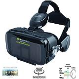 VR EMPIRE 虚拟现实 3D 眼镜耳机,带 120° FOV,立体声耳机,适用于 4.0-6.2 英寸智能手机的电话应答按钮 V7.0 -Black